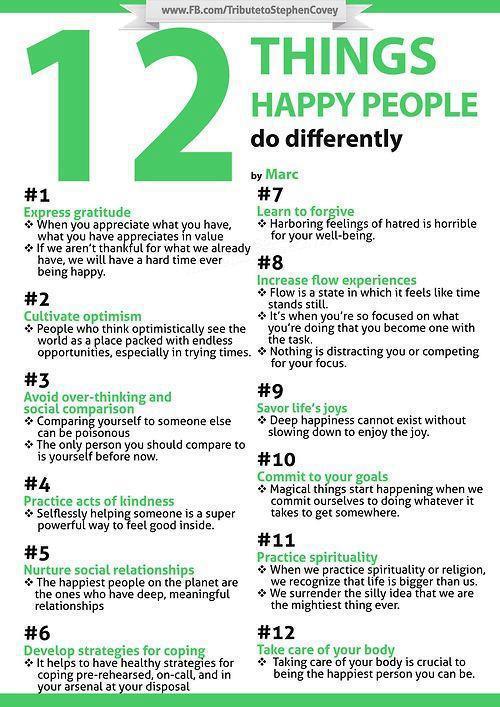 12 cosas que la gente feliz hace de manera diferente